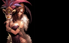 Picture girl, the dark background, feathers, mask, art, fur, sigmul