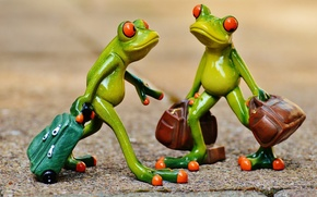 Picture toys, frog, frogs, journey, figures, frog, suitcases, tourists
