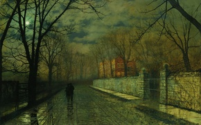 Picture trees, landscape, the city, house, the moon, street, the fence, picture, pair, John Atkinson, Figures ...