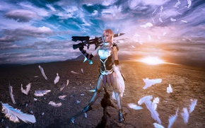 Wallpaper weapons, feathers, warrior, Lightning, cosplay, Final Fantasy XIII-2, Lyz Brickley