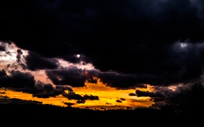 Picture Dark, Clouds, Sky, Sunset, View, Gloomy