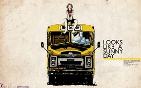 Picture roof, labels, anime, art, bus, guy