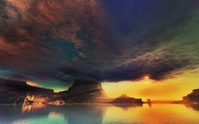 Picture clouds, sunset, lake, rocks, art, lightdrop