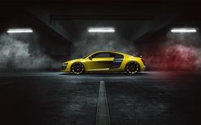Picture Audi, Yellow, Side, Smoke, Supercar, MTM