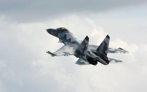 Wallpaper Flight, Su-35, The plane, The sky. Wysota, Fighter, Multipurpose, Clouds