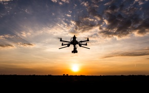 Picture sunset, clouds, drone