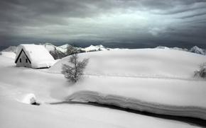 Picture winter, snow, landscape, house, river