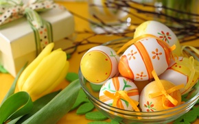 Picture eggs, Easter, tulips, flowers, spring, Easter, eggs