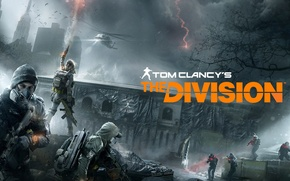 Picture Winter, Game, Snow, The building, Soldiers, Weapons, Ubisoft, Game, Tom Clancy's The Division