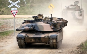 Picture road, weapons, tank, Abrams