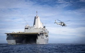 Picture ocean, helicopter, flag, San Antonio, powerful, navy, american navy, amphibious, CH-46 Sea Knight, transport dock, …