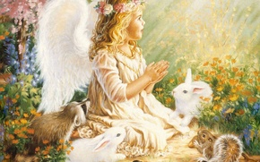 Picture birds, angel, girl, raccoon, rabbits, girl, wings, wreath, child, Angel, baby, proteins