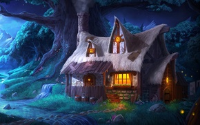 Picture forest, night, lights, house, stream, tree, house, Trine 2