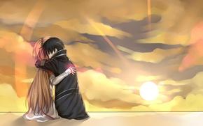 Picture girl, the sun, cloud, pair, male, Anime, cloak, long hair, short hair, hug, brown hair, …