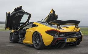 Picture McLaren, Yellow, Machine, McLaren, Door, Supercar, Yellow, The airfield, Supercar, Spoiler