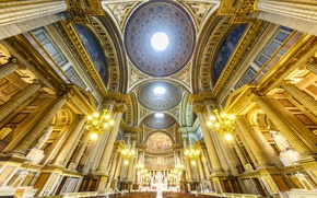 Picture France, Paris, sculpture, religion, the altar, bench, Ile-de-France, La Madeleine, Church of Mary Magdalene