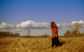 Picture field, girl, mood