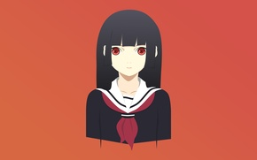 Picture girl, anime, Girl, red eyes, Anime, school uniform, Enma Ai, ENMA AI, Girl From Hell, …