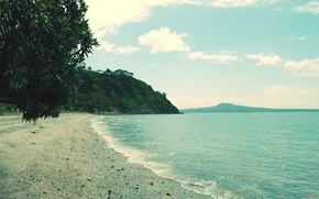 Picture sea, beach, mountains