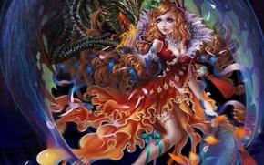 Wallpaper look, girl, fiction, dragon, dress, art
