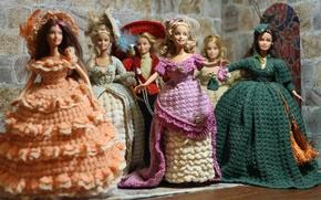 Wallpaper pose, pen, beauty, look, clothing, dresses, hats, hair, knitting, doll, Barbie