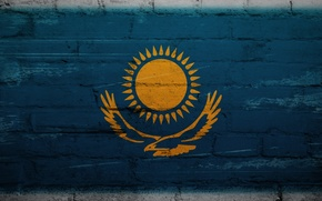 Picture wall, flag, texture, Kazakhstan