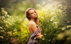 Picture girl, dreams, nature, shoulder, Karen Abramyan, summer sound