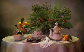 Picture branches, table, holiday, toys, new year, spruce, kettle, Cup, dishes, vase, tree, fruit, bump, dessert, …