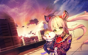 Picture The evening, The city, Background, Roof, Anime, Landscape, Photoshop, Cutie