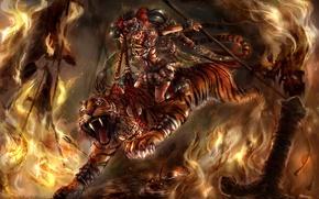 Picture girl, tiger, fire, predator, sword, art, arm