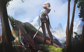 Picture girl, sword, art, The Witcher, CRIS, Cirilla
