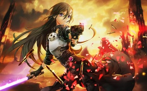 Picture fire, flame, sword, gun, pistol, game, fighter, weapon, anime, boy, fight, MMORPG, asian, lightsaber, armour, ...