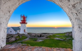 Picture sea, sunset, lighthouse, Norway, Norway, North sea, North Sea, Have Lindesnes, Lindesnes Lighthouse, Lindesnes Lighthouse, …
