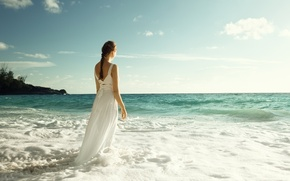 Picture sea, wave, the sky, girl, back, dress