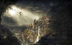 Picture mountains, dragon, waterfall, skyrim, dragonborn