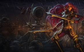 Wallpaper girl, weapons, rain, sword, League of Legends, catapult