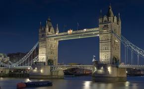 Picture night, river, Wallpaper, boat, England, London, UK, Thames, wallpaper, Tower bridge, Tower Bridge, capital, The …