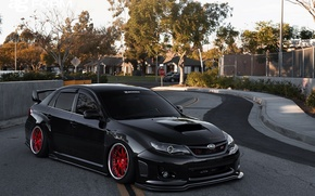 Picture turbo, wheels, subaru, black, japan, wrx, impreza, jdm, tuning, power, sti, low, stance