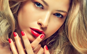 Picture eyes, look, girl, Red, Girls, Eyes, lips, Face, Glance, Manicure