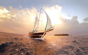 Picture sea, the sky, clouds, the ocean, island, sailboat, yacht