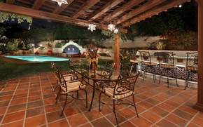 Picture night, design, lights, table, tile, chairs, pool, garden, yard, lights, canopy