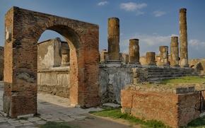 Picture Italy, ruins, architecture, column, Pompeii, excavations