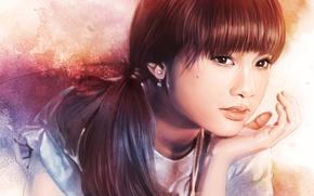 Picture look, ponytail, art, hand, painting, face, earrings, hair, Rainie Yang, girl, eyes