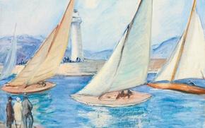Picture picture, The start of the regatta in Saint-Tropez, Henri Lebacq, sea, yachts, lighthouse, sail, landscape