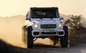 Picture Mercedes-Benz, White, Mercedes, Logo, AMG, the front, SUV, G63, 6x6