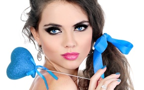 Wallpaper eyes, look, girl, eyelashes, hair, hand, earrings, makeup, ring, lips, decoration, blue, ribbon