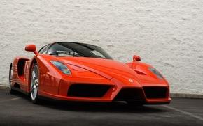 Picture Ferrari, red, wall, supercar, Enzo