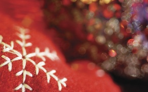 Picture decoration, red, holiday, new year, thread, blurry, snowflake, embroidery, bokeh, Wallpaper from lolita777