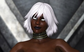 Picture girl, face, rendering, beauty, Storm, black, storm, X-Men, Afro, art, Marvel Comics, ororo munroe