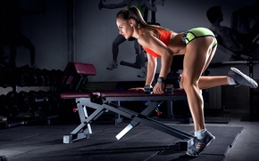 Picture pose, fitness, pose, training, workout, fitness, gym, training, dumbbells